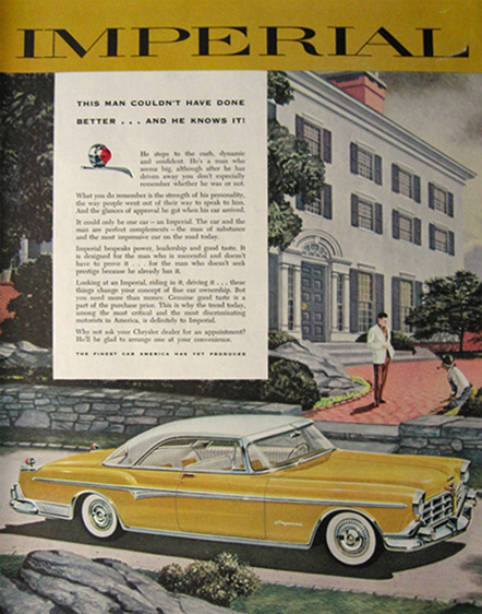 1955 Chrysler Imperial Ad ~ Couldn't Have Done Better