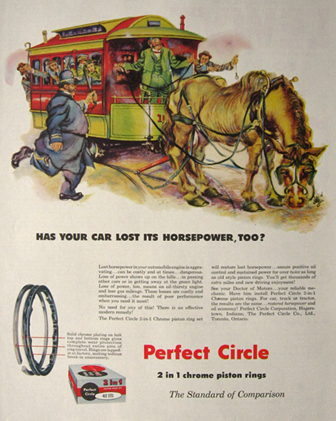 1955 Perfect Circle Piston Rings Ad ~ Horsepower