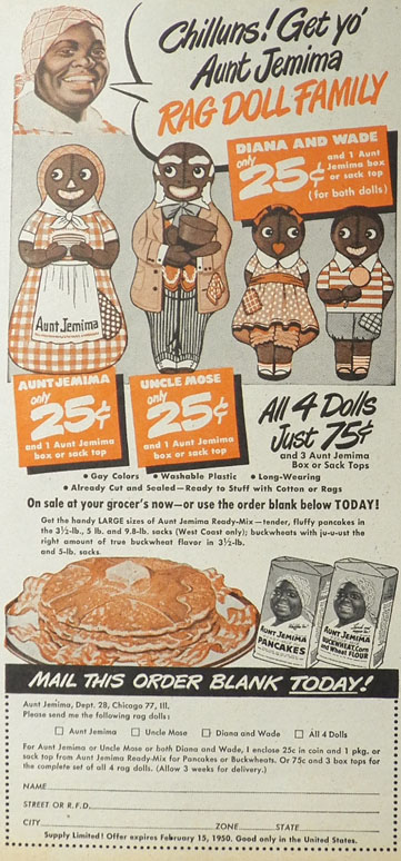 1949 Aunt Jemima Pancakes Ad ~ Rag Doll Family