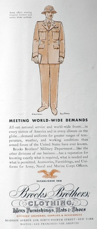 Original vintage magazine ad for Brooks Brothers Military Clothing ...