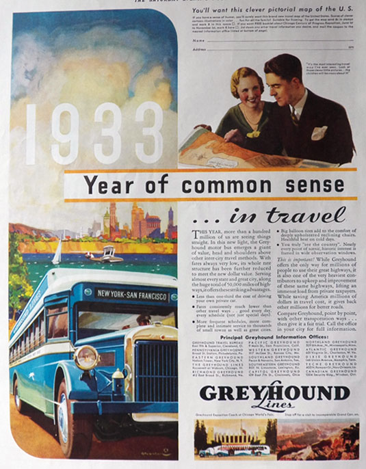 1933 Greyhound Bus Ad ~ Year of Common Sense