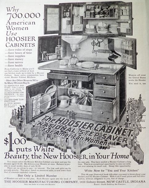 1914 Hoosier Kitchen Cabinets Ad White Beauty