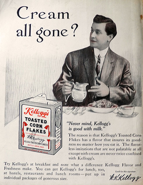 1913 Kellogg's Corn Flakes Ad ~ Cream All Gone?