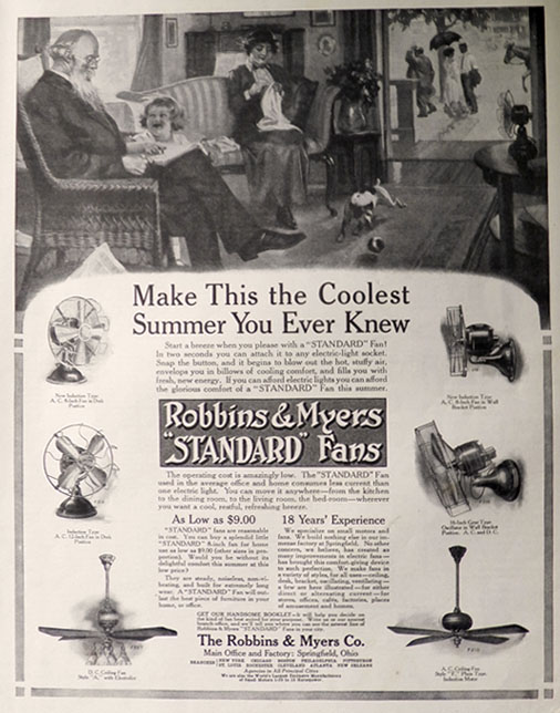 1913 Robbins Amp Myers Quot Standard Quot Electric Fan Ad Coolest