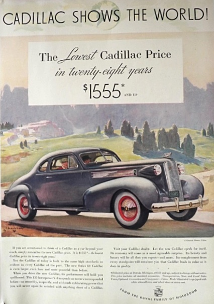 1937 Cadillac Ad ~ Series 60 ~ Lowest Price in 28 Years