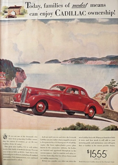 1937 Cadillac Ad ~ Series 60 ~ Families of Modest Means