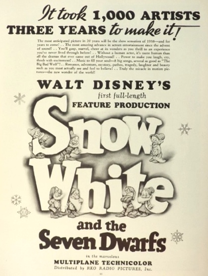 1938 Disney's Snow White Movie Ad ~ First Full-Length Feature