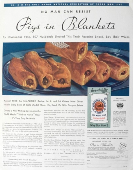 1932 Gold Medal Flour Ad ~ Men Love Pigs in Blankets