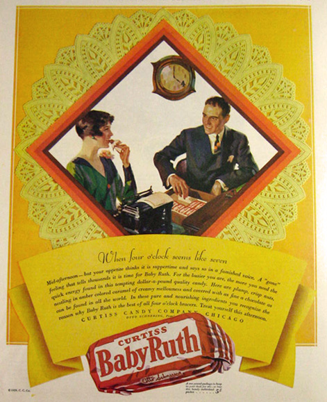 1929 Baby Ruth Candy Bar Ad ~ Yellow Lace Doily, Vintage ...