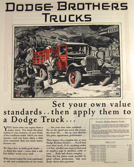 1929 Dodge Brothers Truck Ad ~ Fred Cole Art