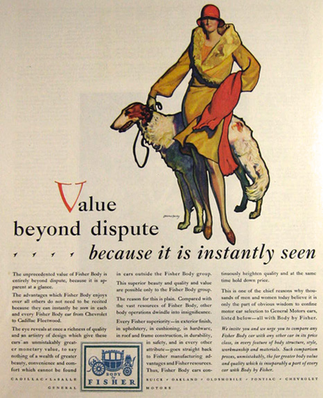 1929 Body by Fisher Ad ~ McClelland Barclay Woman w/Borzoi Dog