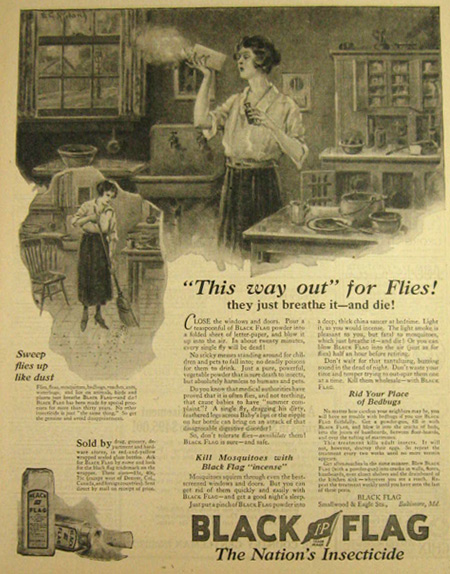 1923 black flag insect powder ad vintage household ads