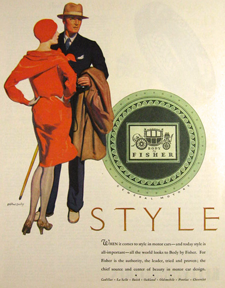 1928 Body by Fisher Ad ~ McClelland Barclay Stylish Couple