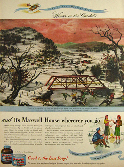 1947 Maxwell House Ad ~ Doris Lee, Winter in the Catskills