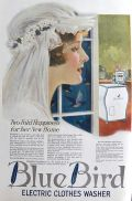 1920 Blue Bird Electric Washing Machine Ad ~ Bride's New Home