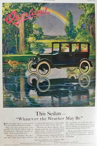 1920 Willy Overland Sedan Ad ~ Whatever the Weather May Be