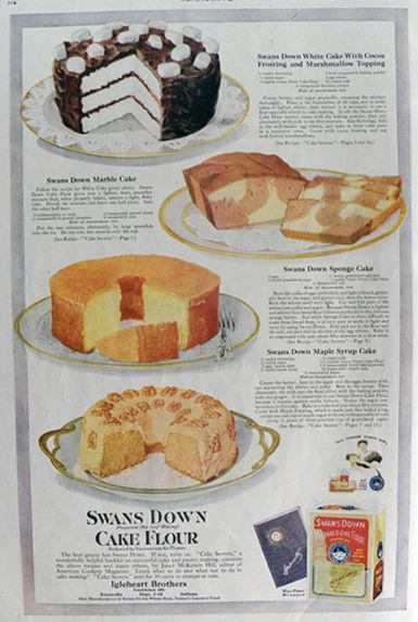 1920 Swans Down Cake Flour Ad ~ Marble Cake Recipe