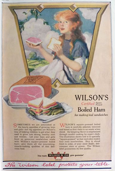 1920 WIlson's Boiled Ham Ad ~ Pretty Woman with Sandwich