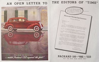 1936 Packard 120 Ad ~ Letter to Time Magazine