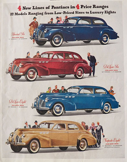 1939 Pontiac Six & Eight Ad ~ 4 New Lines of Pontiac