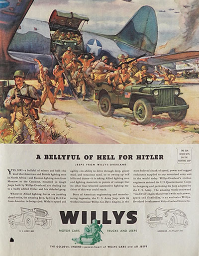 1943 Willy Jeep Ad ~ Bellyful of Hell for Hitler