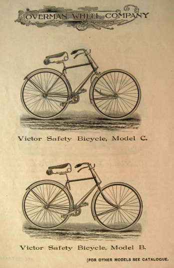 1892 Antique Victor Safety Bicycle Ad ~ Models B & C