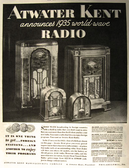 1934 Atwater Kent All-Wave, Shortwave Radio Ad