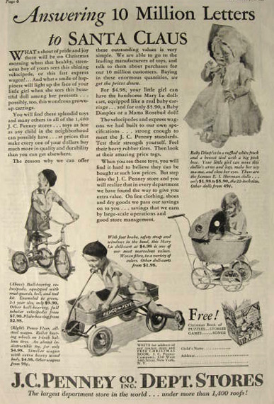 1929 JC Penney Ad ~ Velocipede Bike, Penco Flyer Wagon