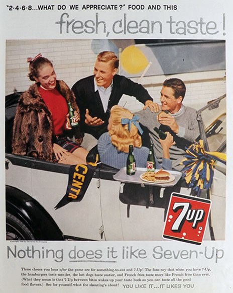 1958 Seven-Up 7-Up Soda Ad ~ Game Day