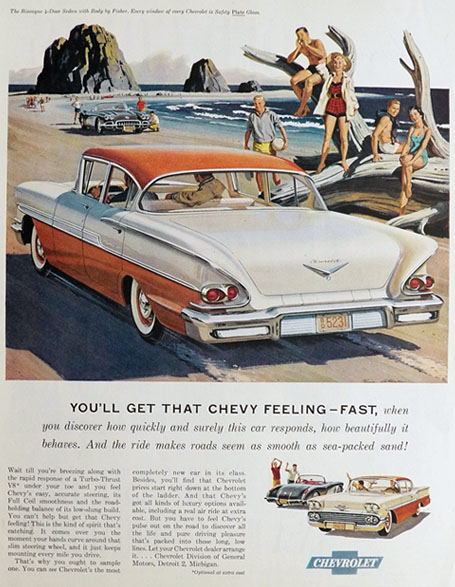 1958 Chevy Biscayne 4-Door Sedan Ad ~ Chevy Feeling