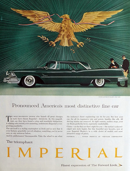 1958 Chrysler Imperial Ad ~ Distinctive Fine Car