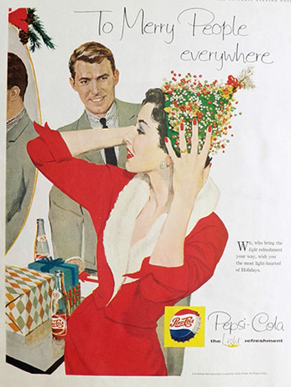 1958 Pepsi-Cola Ad ~ To Merry People Everywhere