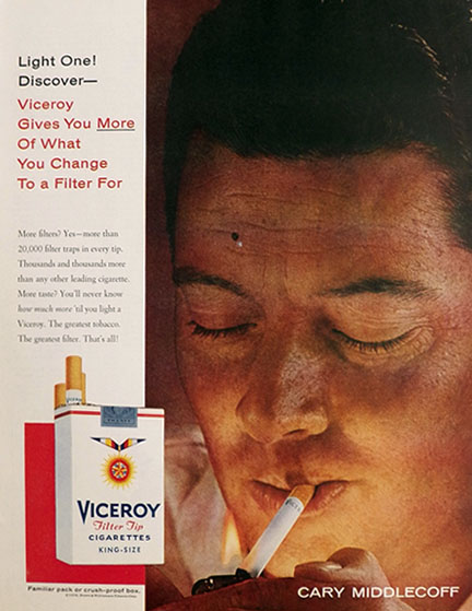 1958 Viceroy Cigarettes Ad ~ Cary Middlehoff