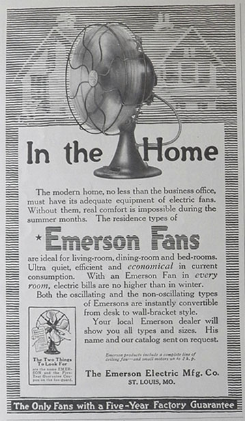 1917 Emerson Antique Electric Fan Ad Vintage Appliance Ads