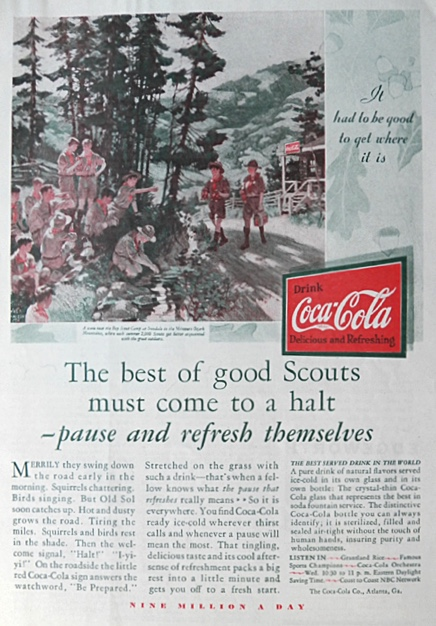1930 Coca Cola Coke Ad ~ Boy Scout Troop Irondale, MO