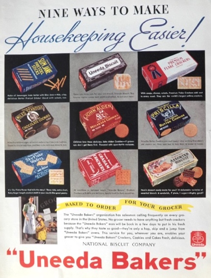 1934 Uneeda Bakers Nabisco Cookies, Crackers Ad