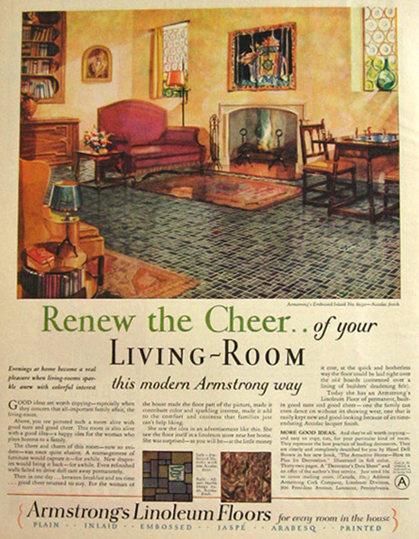 1928 armstrong 39 s linoleum ad cheery living room vintage. Black Bedroom Furniture Sets. Home Design Ideas