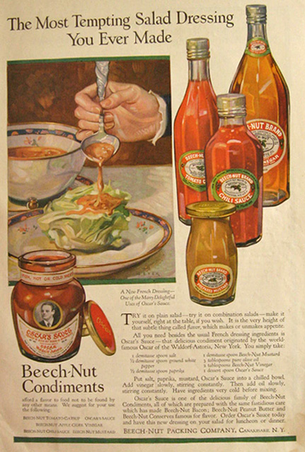 1918 Beechnut Condiments Ad ~ French Dressing Recipe