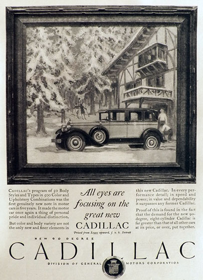 1927 Cadillac Ad ~ 90 Degree, Eight-Cylinder