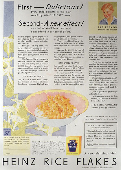 1930 Heinz Rice Flakes Cereal Ad ~ All Bran Removed