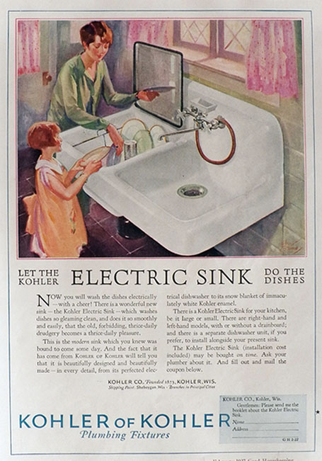 1927 Kohler Electric Sink Ad ~ Let The Sink Do The Dishes