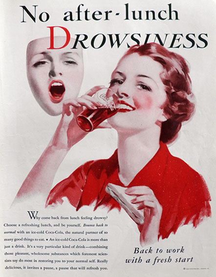 1933 Coke Ad ~ After Lunch Drowsiness