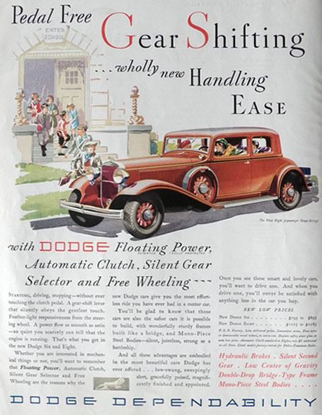 1932 Dodge Eight Ad ~ Pedal Free Shifting