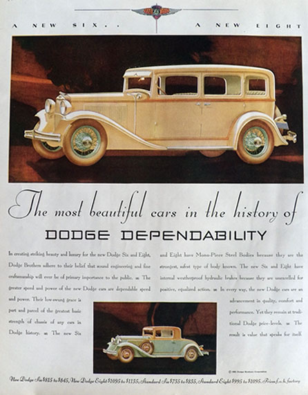 1931 Dodge Ad ~ Dodge Six & Dodge Eight