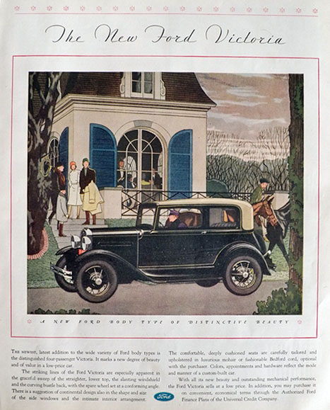1931 Ford Victoria Ad ~ New Body Type