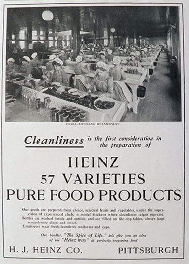 1902 Heinz Foods Ad ~ Pickle Bottling Photo
