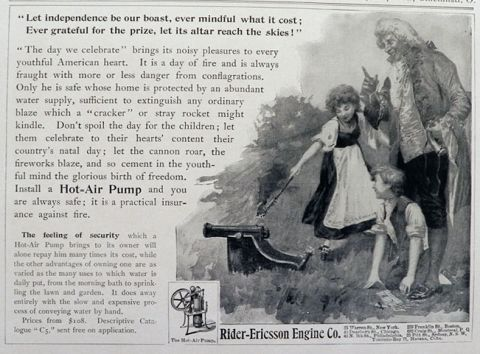 1903 Rider Ericsson Hot Air Pump Ad ~ Kids, July 4th Cannon