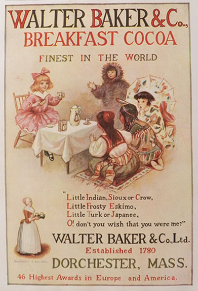1906 Baker's Cocoa Ad ~ Indian, Eskimo, Japanese Children