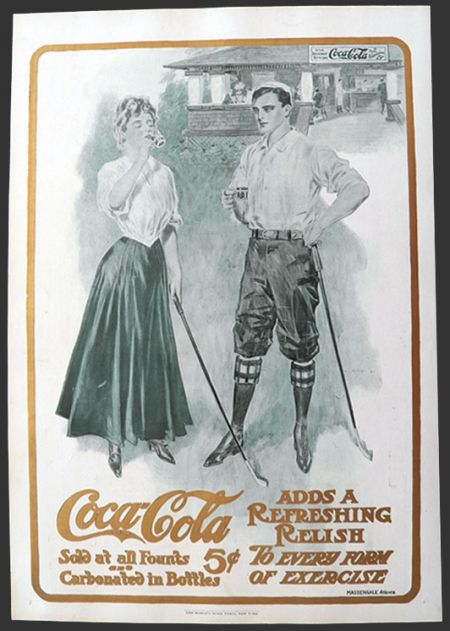 1906 Original Coca Cola Coke Ad ~ Massengale ~ Golf Couple