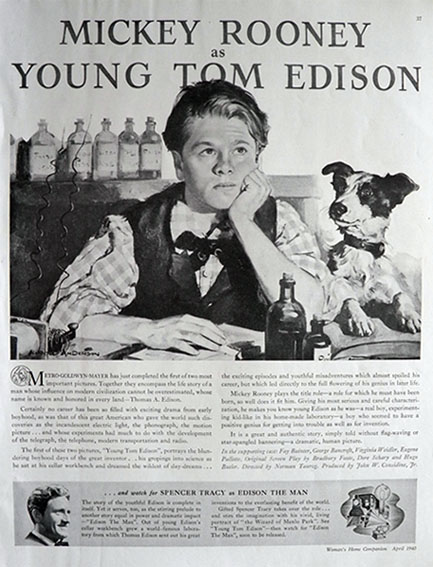 1940 Movie Ad ~ Edison The Man ~ Mickey Rooney